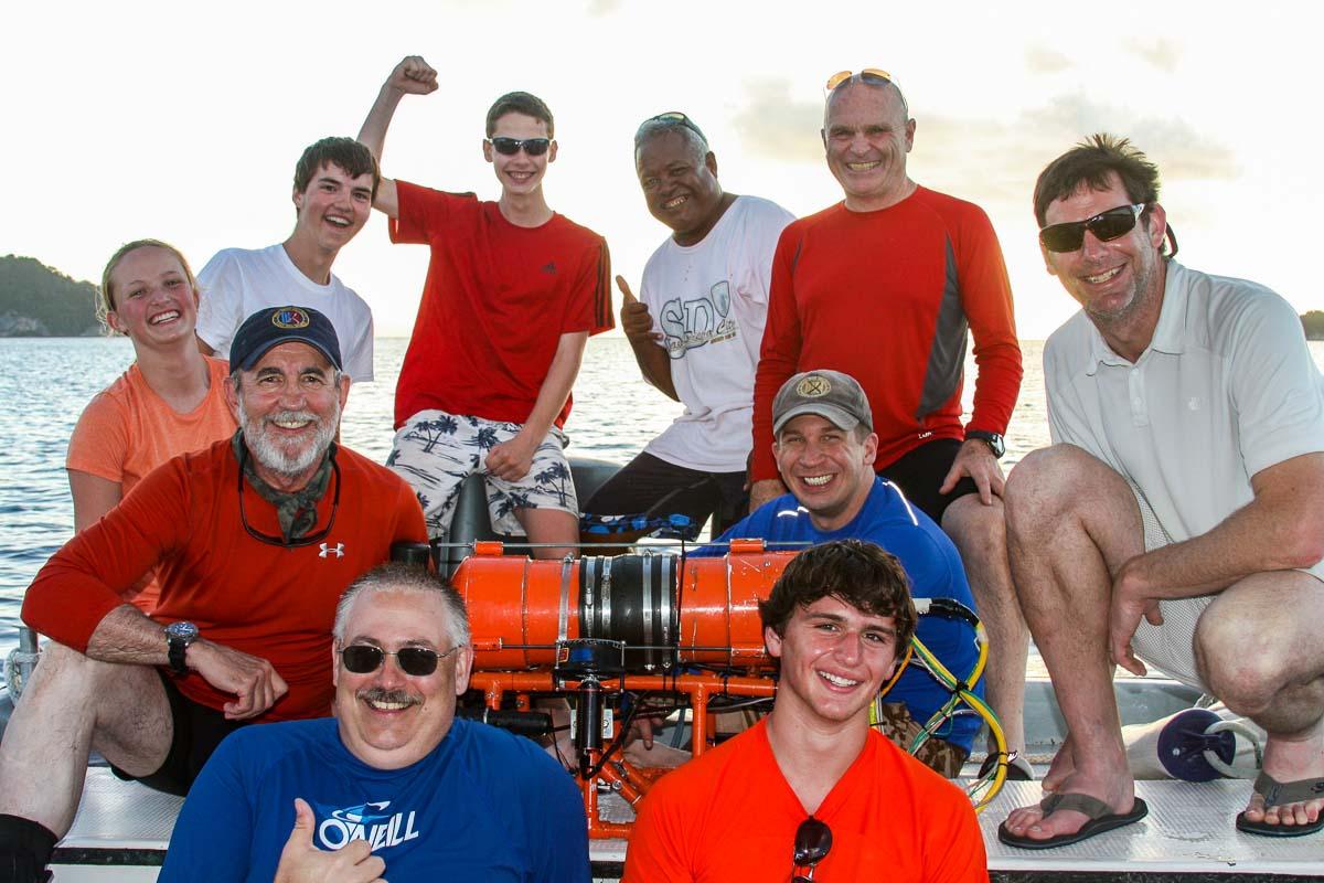 group photo in Palau of the 2012 Stockbridge highschool UAV team Palau