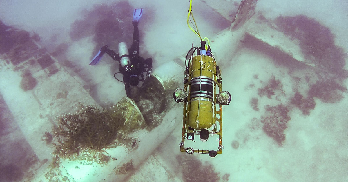 An underwater robot over an WWII airplane crash site