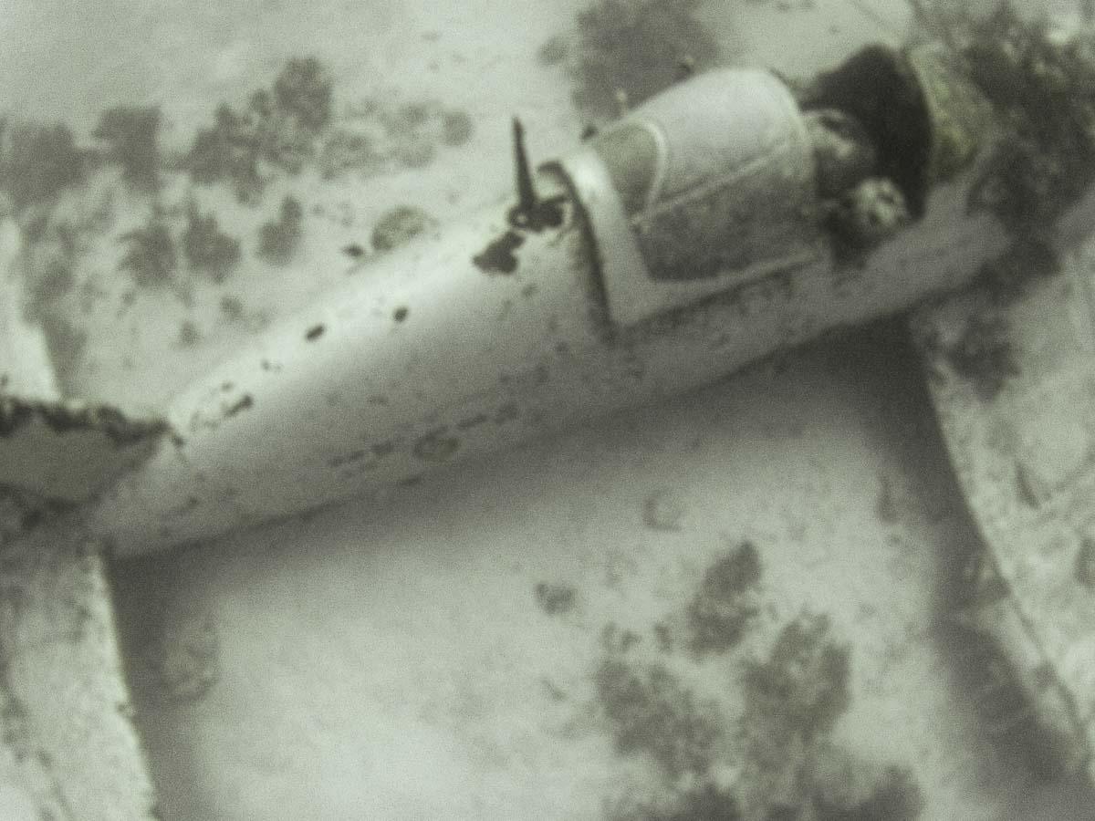 underwater MIA airplane crash site showing cockpit