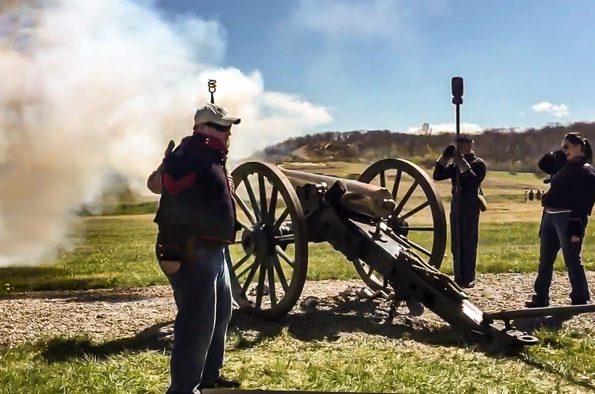 Firing a cannon at West Point for Weapons Demonstration Day, 2016.
