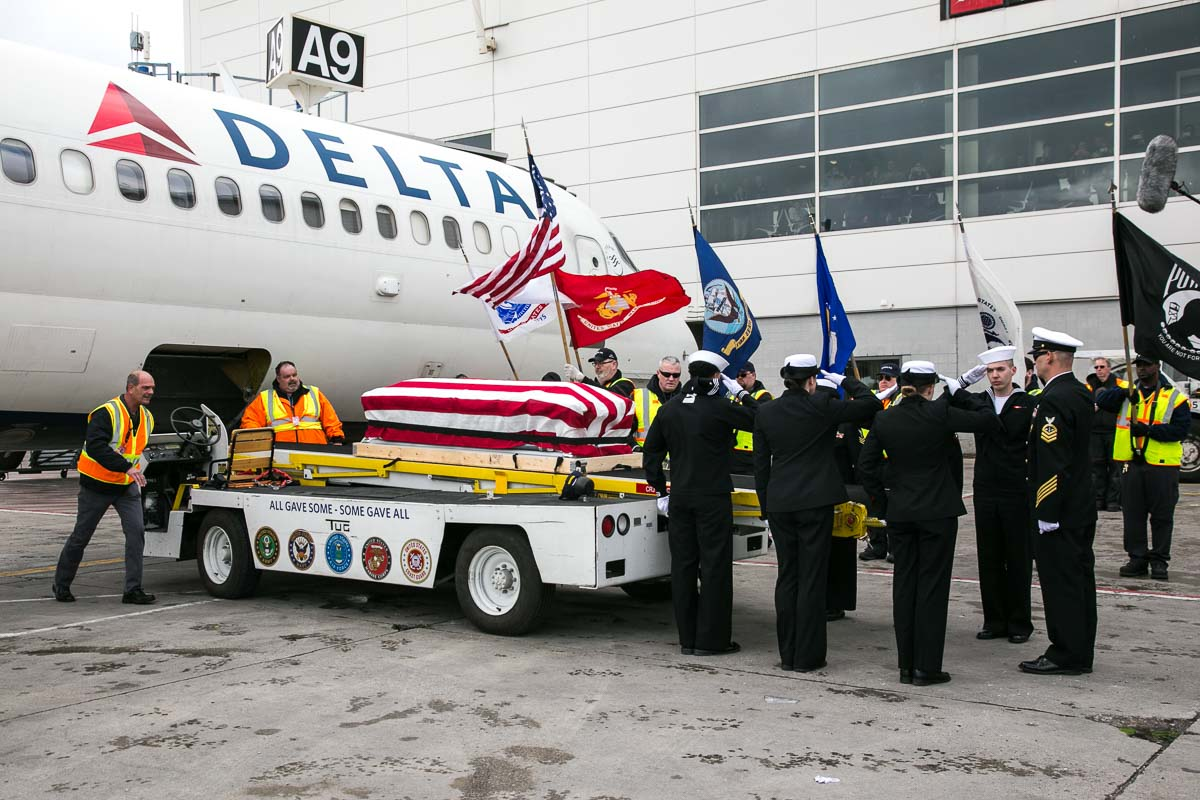 Navy Honor Guard Salutes Ora's Arrival