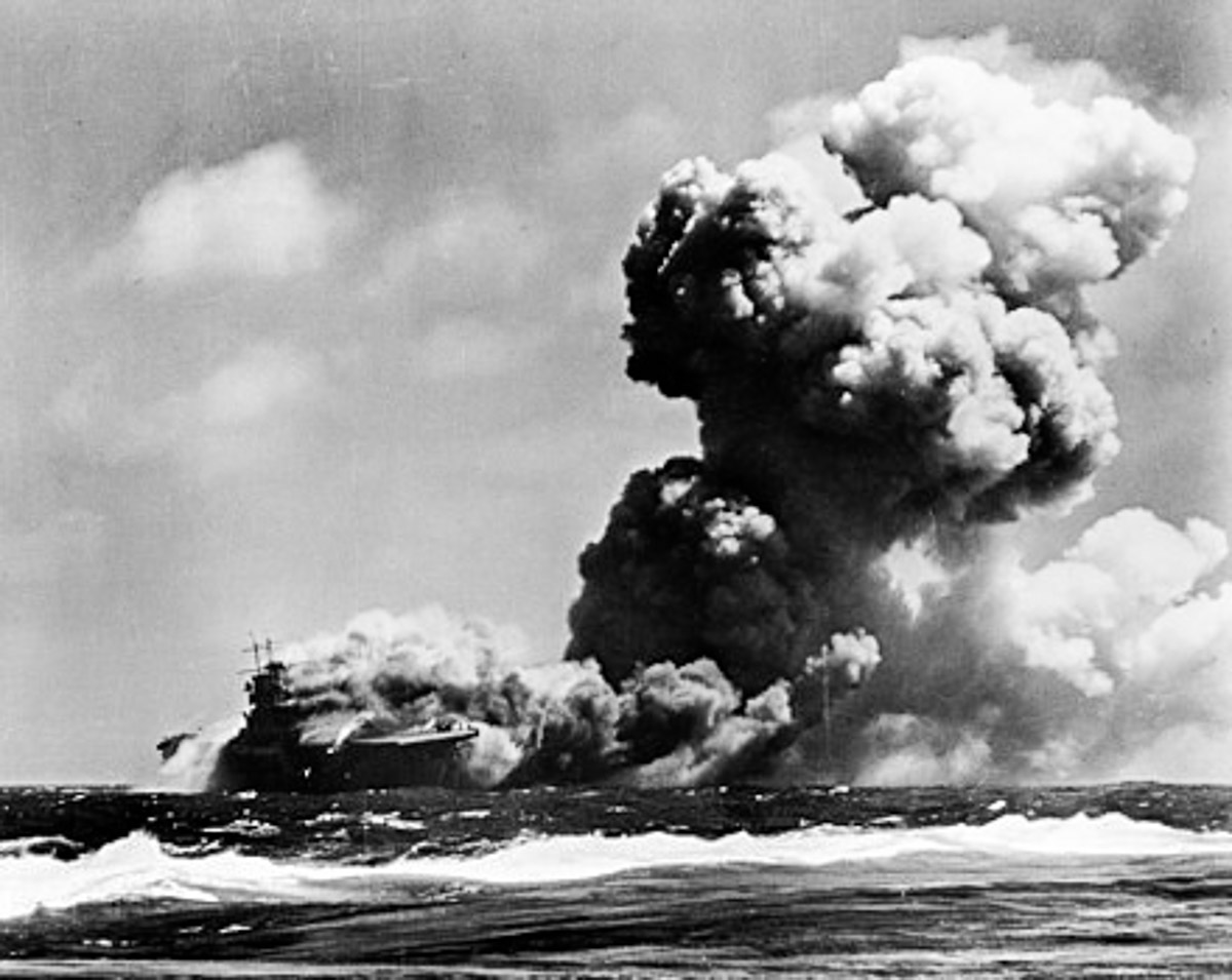 USS Wasp after it was torpedoed