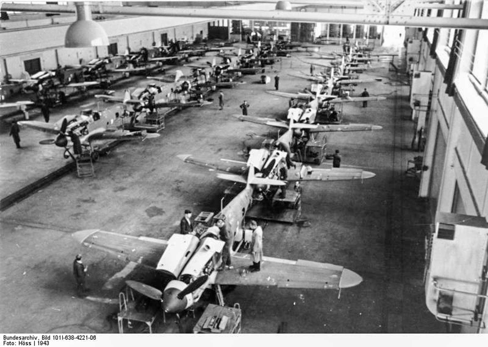 Production von Messerschmitt Me 109
