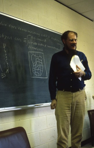 David Lewis giving a talk on 'Veridical Hallucination and Prosthetic Vision', circa 1979.