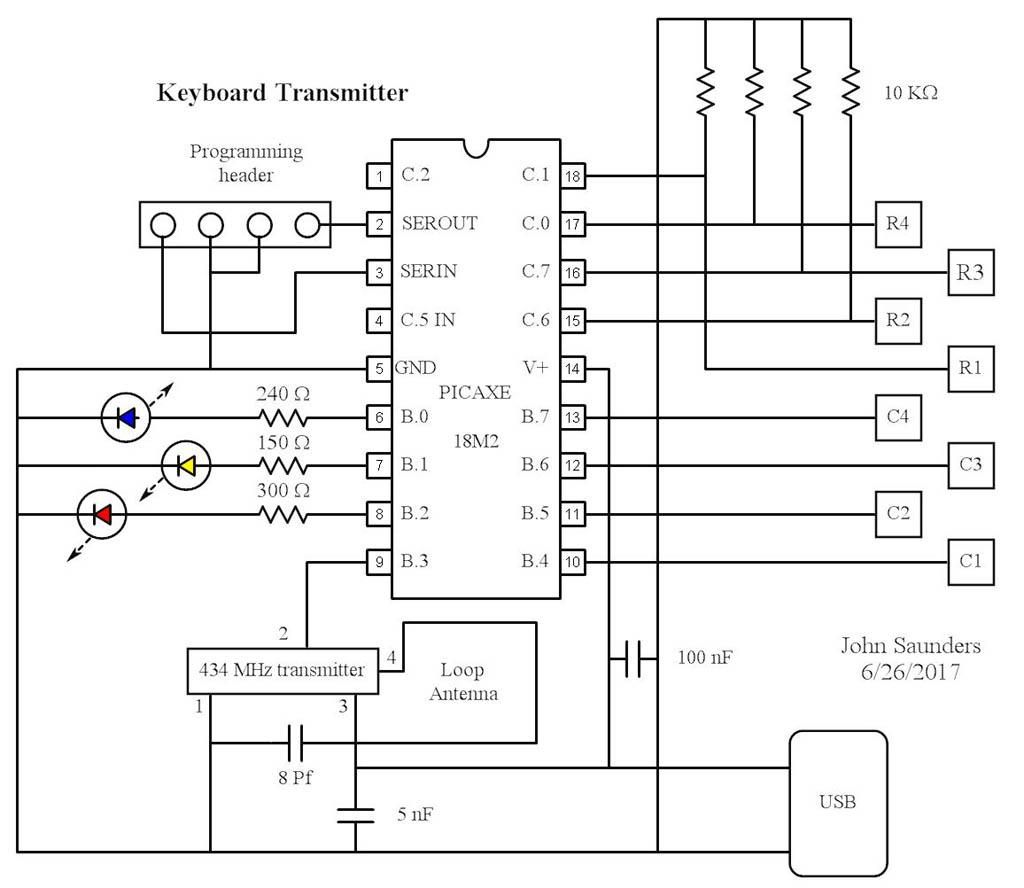 A Small Control Transmitter Using A 16 Key Keypad