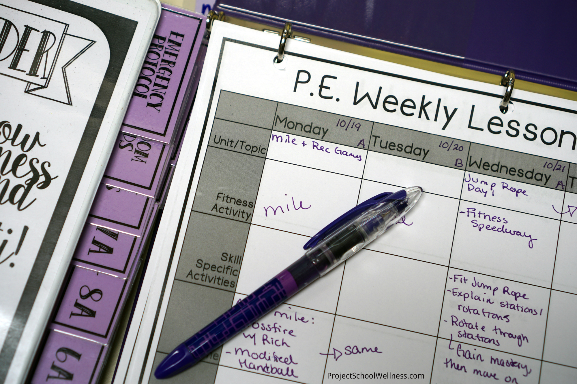 printable freebie p e weekly lesson planner project school wellness