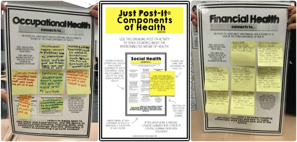 Just Post-It Components of Health - Preview photo, Health Lesson PLan