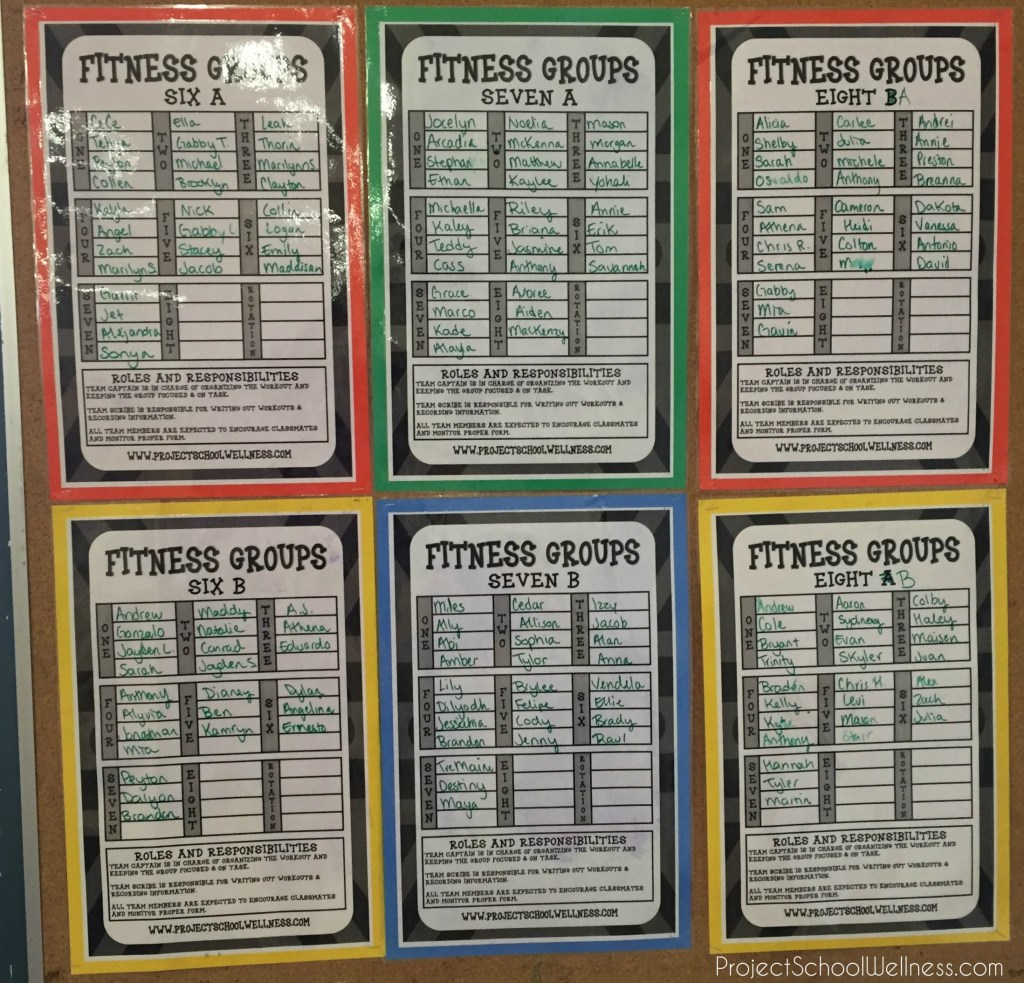 Fitness Groups, PE Warm Up, PE Routine