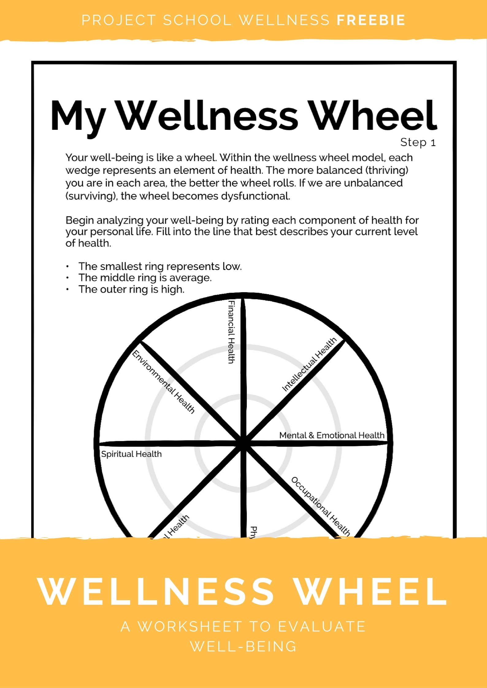 Health and well-being is the basis of any human's ability to thrive! Which is exactly why health should be a fundamental focus in elementary, middle and high school! And there's no better place to start than with the Wellness Wheel! The Wellness Wheel is a tool to teach and explain that health is multidimensional and interconnected. Equipped with these two truths, any student can create a reality in which they thrive! Click to download this freebie lesson plan today!