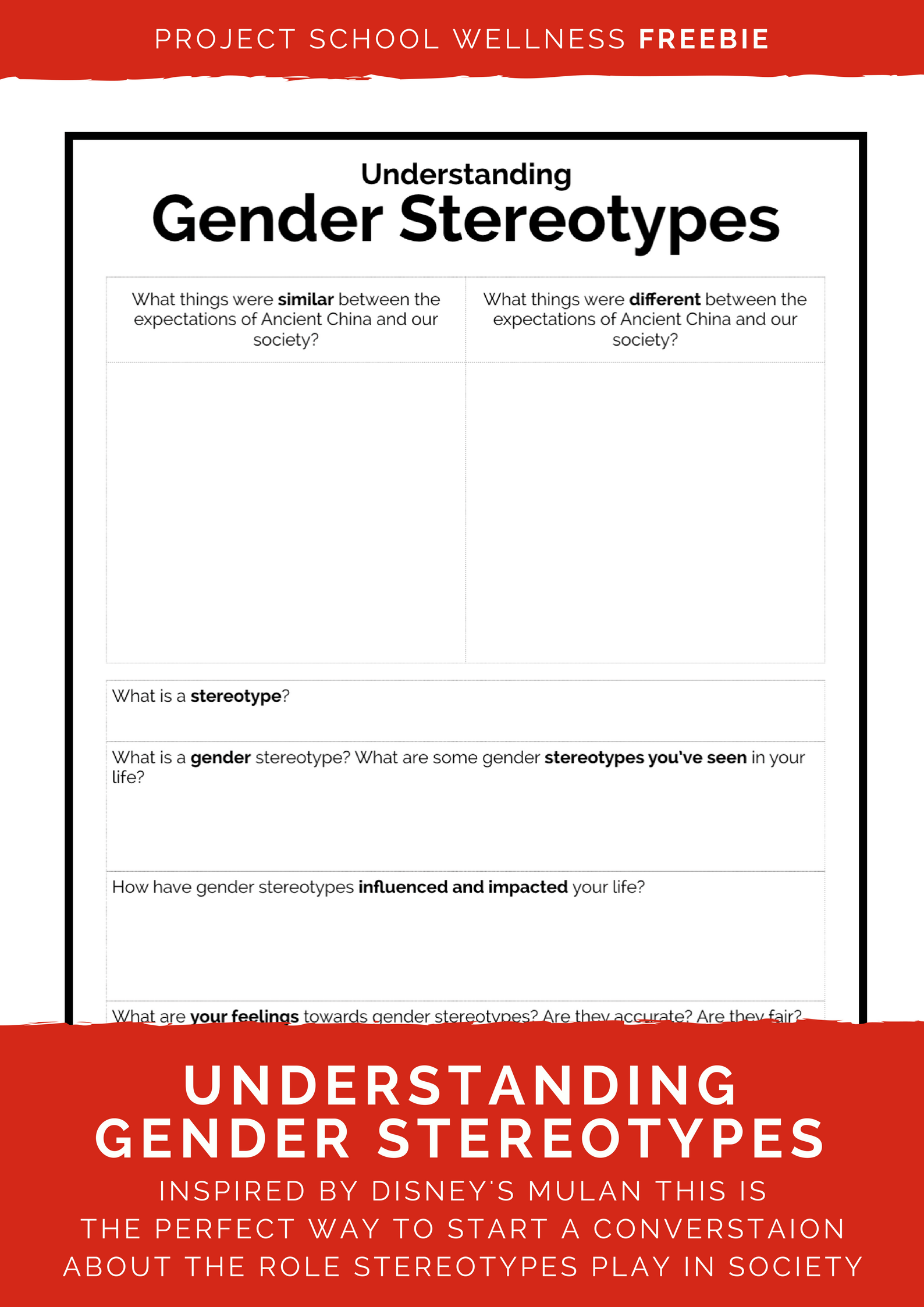 Worksheets Stereotype Worksheets talking gender stereotypes with mulan project school wellness inspired by disneys use this freebie to talk about your middle