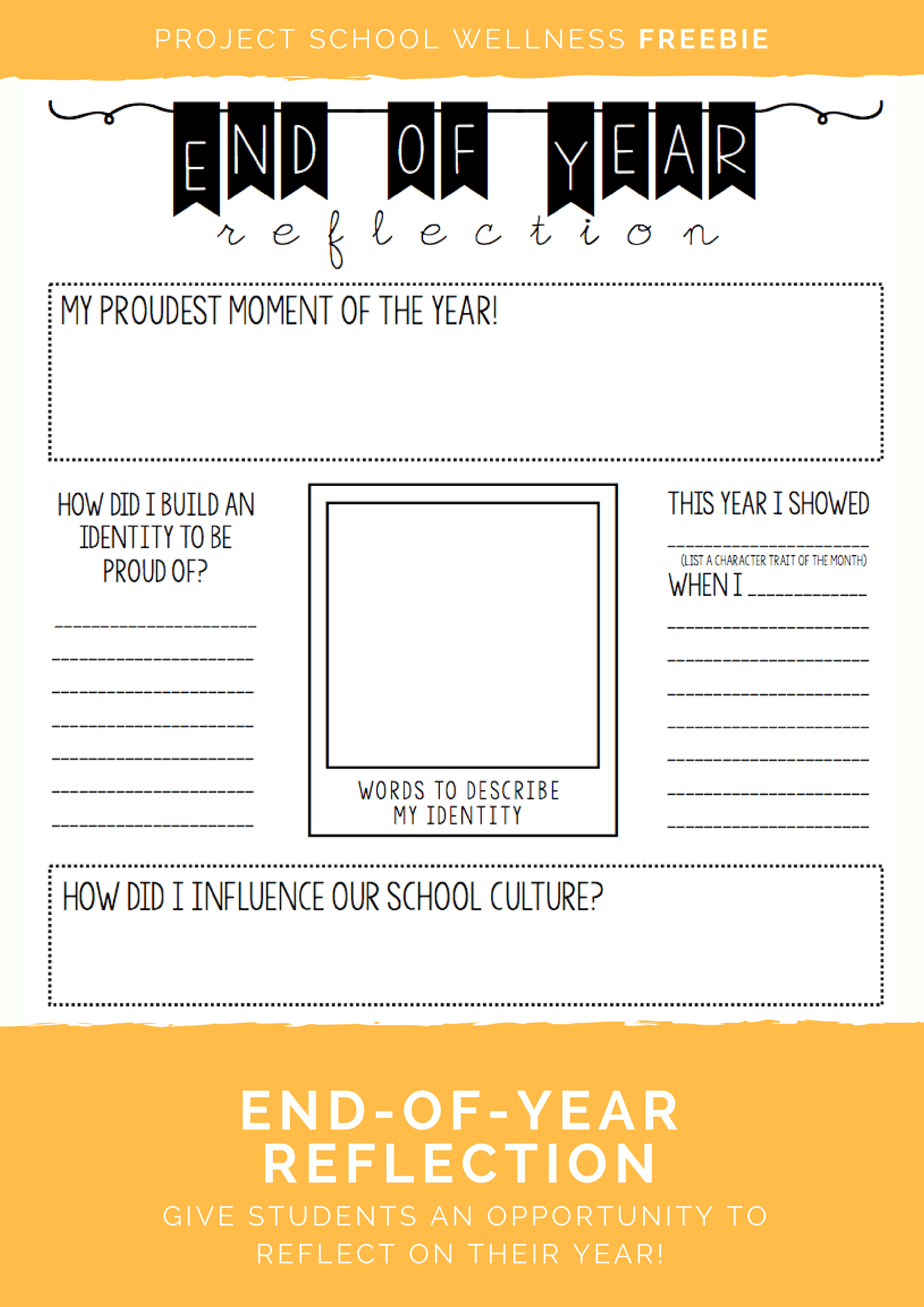 Check out this end-of-year reflection activity! This freebie is perfect for any elementary or middle school classroom! Click to download it at Project School Wellness!