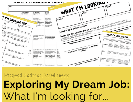 Middle School Health Lesson Plans - No-prep - The Exploring My Dream Job: What I'm looking for... lesson plan is an engaging career exploration activity. This is an activity designed to help students define what exactly they want from a career. Too often students only look at the salary and status of a career and don't time to deeply reflect what exactly they want in a career. This resource simplifies the process and makes career exploration a meaningful experience.