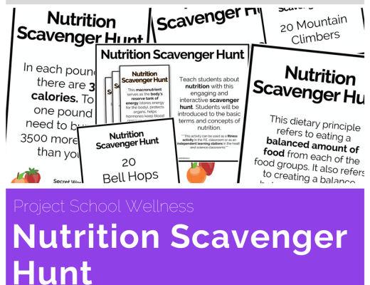 Nutrition Scavenger Hunt - One of Project School Wellness top selling health resources. This middle school lesson plan is perfect for health and science teachers as it introduces students to basic nutrition concepts and terms. This activity is also versatile as it can also be used as a fitness activity.