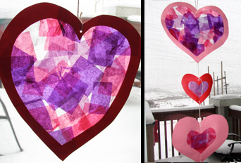 Pretty Stained Glass Tissue Paper Hearts Projects For