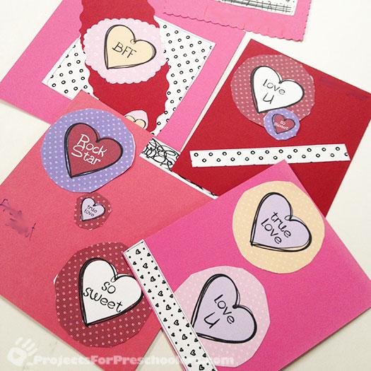 Preschool Printables Projects for Preschoolers – Valentine Cards Preschool