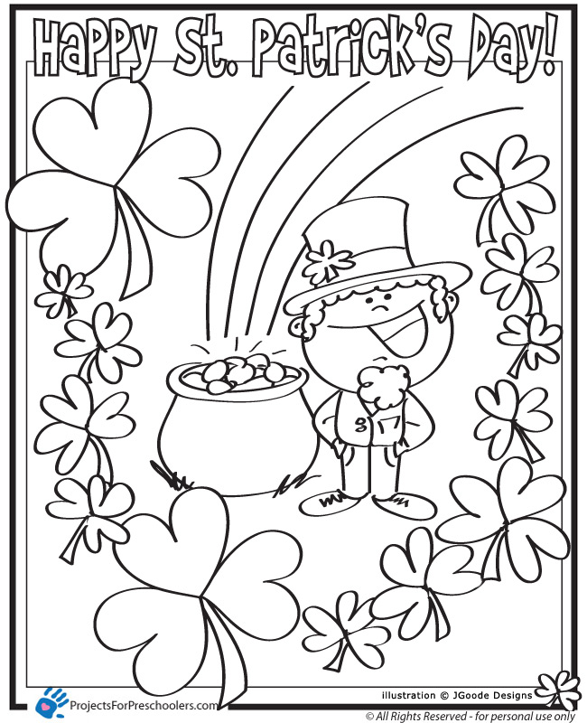 Happy st patrick 39 s day projects for preschoolers for Saint patrick day coloring pages