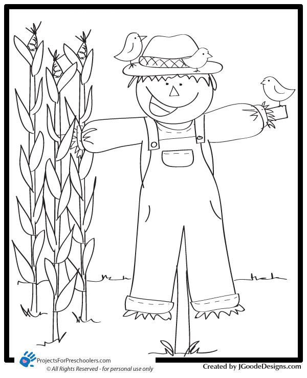 Scarecrow Coloring Page Projects for Preschoolers