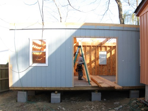 All four of the bottom walls put up - Our Classic Manor New Day Cabin - Project Small House