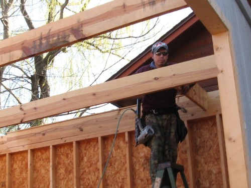 Putting on the floor for the second story - Our Classic Manor New Day Cabin - Project Small House