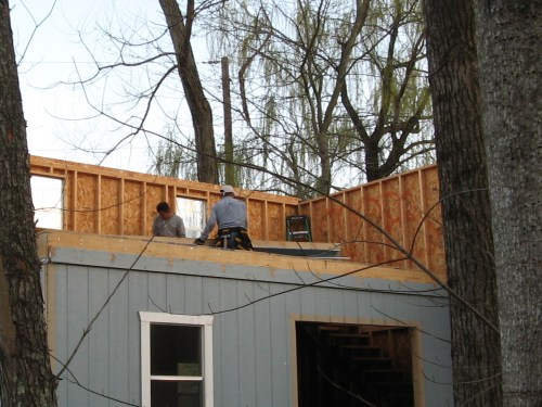 Two upstairs walls up - Our Classic Manor New Day Cabin - Project Small House