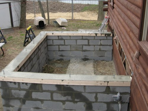 Project: Adding Closets to the log cabin - Closet foundation with ledger