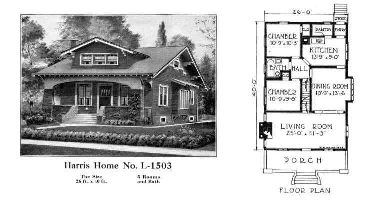 Historic Plans: Beautiful Bungalow Harris Home No. L-1503