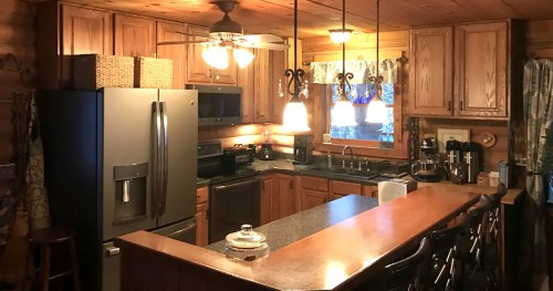 Planning the Kitchen: 8' x 10' log cabin kitchen with plenty of counter space and storage.