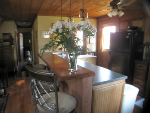 Log Cabin Kitchen Before & After: Work in Process, The kitchen bar hides the counter top.