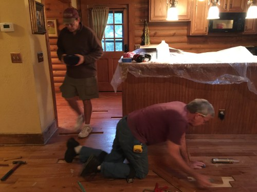 Project Small House - Refinishing Hardwood Floor: Replacing the rotted wood.