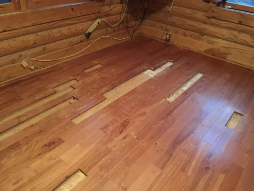 Project Small House - Refinishing Hardwood Floor: Mark removed all of the rotted wood. It was even worse than I thought.