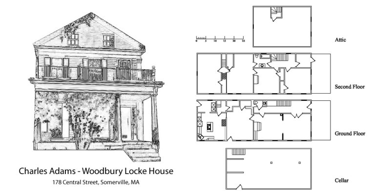 Charles Adams-Woodbury Locke House in Somerville, Massachusetts