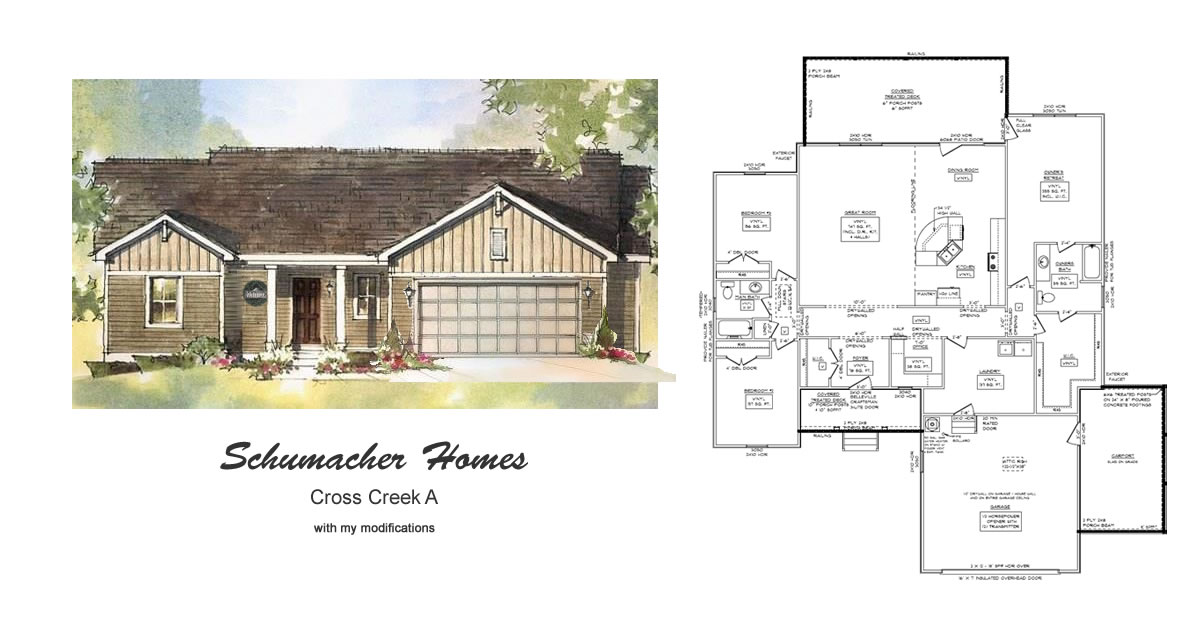 Schumacher homes cross creek modified house plan project for Modified a frame house plans