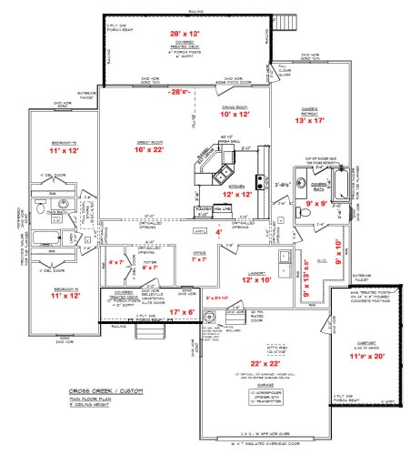 Our House Plans - Final, with all the measurements - 3 Bedrooms, 2 Baths, Laundry Room, Pocket Office, Walk In Closets, Two Large Porches, Two Car Garage and Carport