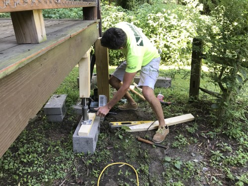 Jacking up the porch to get the first new support in - Replacing Deteriorating Log Cabin Porch Supports – Project Small House