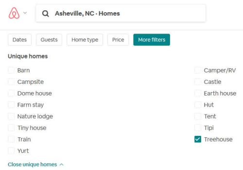 On Airbnb: Click More filters > Unique homes > Show all unique homes > Tree House in Asheville – Project Small House