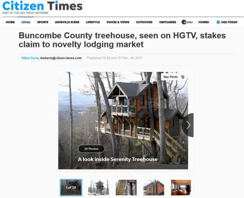 Citizen Times: Buncombe County treehouse, seen on HGTV, stakes claim to novelty lodging market - Tree House in Asheville – Project Small House