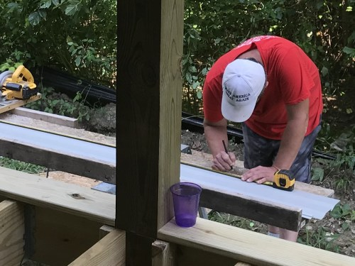 Measuring and cutting the angles - Installing the Vinyl Siding - Project Small House