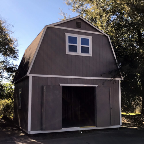 The front of the Summer Wind barn with the doors open - Summer Wind: Two Floor Storage Barn – Project Small House
