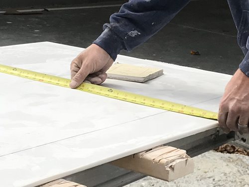 Measuring for the cuts - Cultured Marble Vanity Tops and Tub Surround – Project Small House