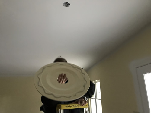 Putting the medallion in the dining room - Ceiling Medallions in the Dining Room and Entry – Project Small House