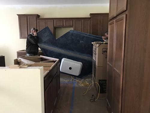 See the seam reinforcement? - Cobalt Blue Corian Countertops in the Kitchen - Schumacher Homes Cross Creek – Project Small House
