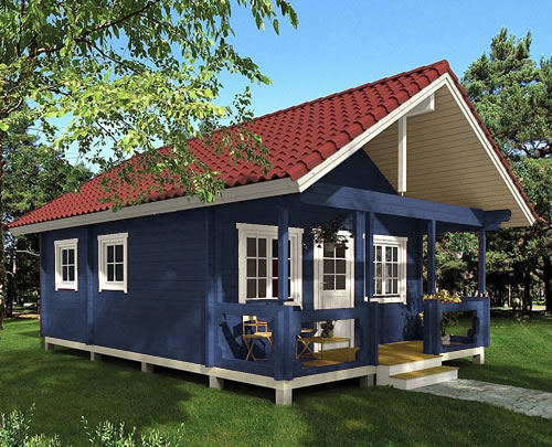 Allwood Timberline Cabin in blueberry opaque stain with a red barrel tile look metal roof. - Timberline 483 Square Foot Cabin Kit – Project Small House