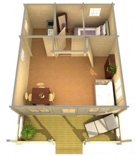 Choose the layout you want. There is 354 square feet downstairs. - Timberline 483 Square Foot Cabin Kit – Project Small House