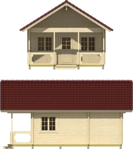 The front has a small front porch. Choose how many windows you want and where you want them placed. - Timberline 483 Square Foot Cabin Kit – Project Small House