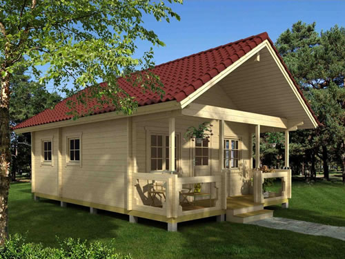 The Timberline Cabin kit from Allwood ships with completely unfinished wood. Choose the stain or paint you want. - Timberline 483 Square Foot Cabin Kit – Project Small House