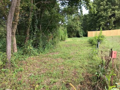 The red block is on the stake that marks the edge of the property. - Land For Sale: .44 acre In Druid Hills, Hendersonville, NC – Project Small House