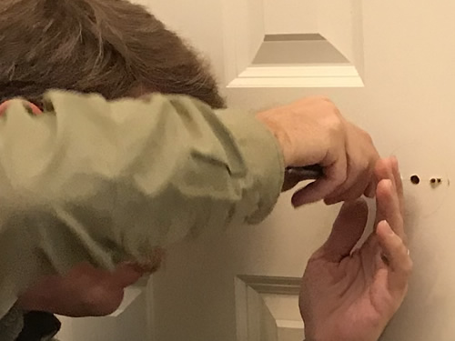Cleaning up the holes - Putting Glass Door Knobs on the Closet Doors – Project Small House