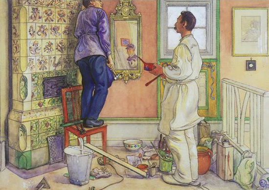 My friends the carpenter and the painter by Carl Larsson - Swedish Kachelofen – Project Small House