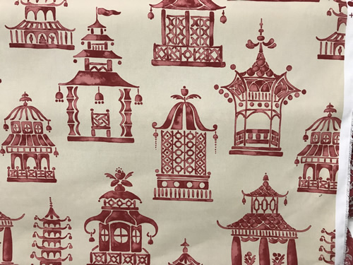 Red pagodas on off-white by P Kaufmann Fabrics - Foam & Fabric Outlet - Project Small House
