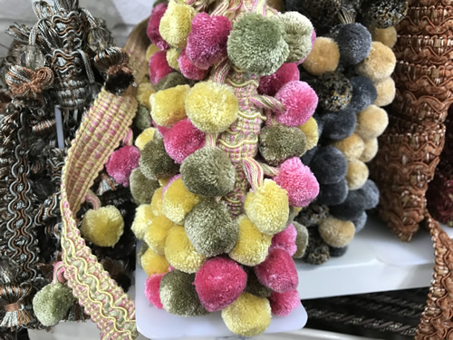 Curtain trim with pink, yellow, and green pompoms - Foam & Fabric Outlet - Project Small House